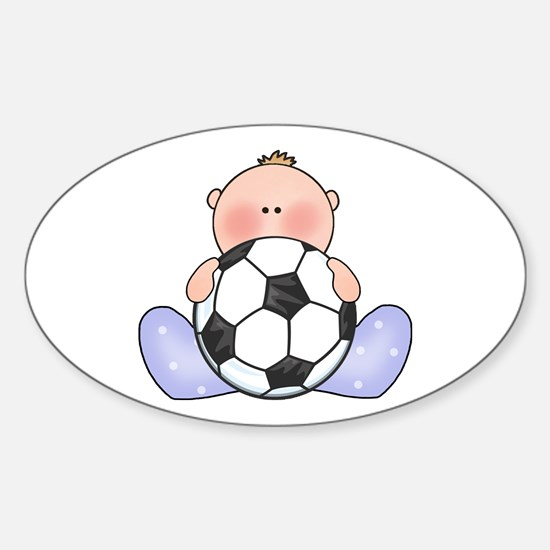 Lil Soccer Baby Boy Oval Decal