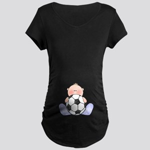 Lil Soccer Baby Boy Maternity Dark T-Shirt