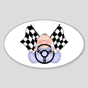 Lil Race Winner Baby Boy Oval Sticker