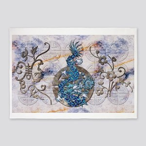Harvest Moons Lapis Dragon 5'x7'Area Rug