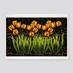 Harvest Moons Tulips 5'x7'Area Rug
