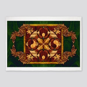Harvest Moons Yin Yang Dragon 5'x7'Area Rug