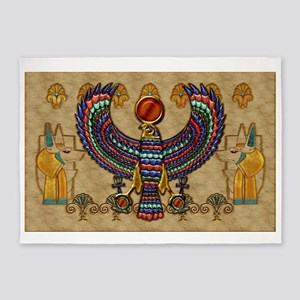 Harvest Moons Egypt Hawk 5'x7'Area Rug
