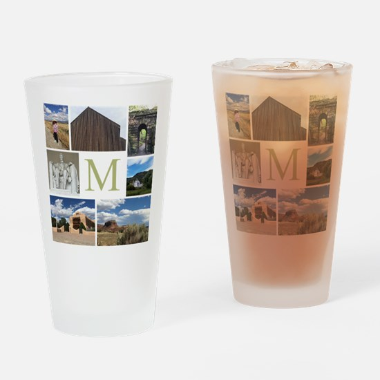 Photo Block and Monogram by LH Drinking Glass