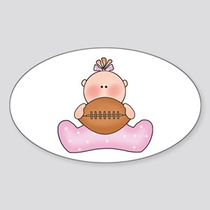 Lil Football Baby Girl Oval Sticker