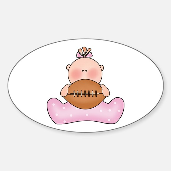 Lil Football Baby Girl Oval Stickers