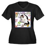 Cat Virgo Women's Plus Size V-Neck Dark T-Shirt