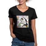Cat Virgo Women's V-Neck Dark T-Shirt