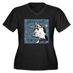 Cat Libra Women's Plus Size V-Neck Dark T-Shirt
