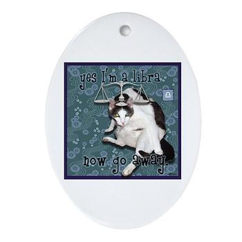 Cat Libra Ornament (Oval)