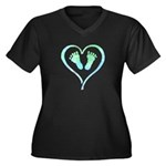 Blue Heart and Baby Feet Plus Size T-Shirt