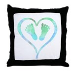 Blue Heart and Baby Feet Throw Pillow