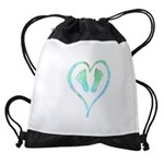 Blue Heart and Baby Feet Drawstring Bag