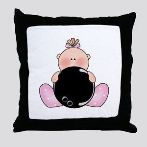 Lil Bowling Baby Girl Throw Pillow