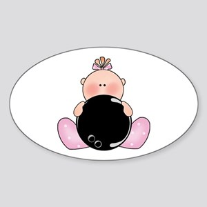 Lil Bowling Baby Girl Oval Sticker