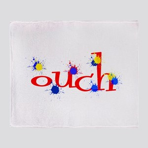 ouch red yellow blue paintball Throw Blanket