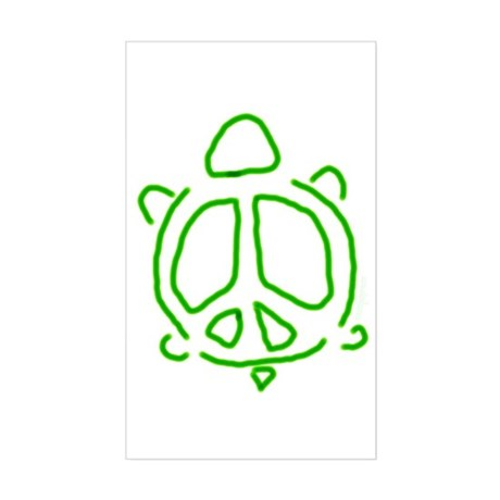 Peace turtle Rectangle Sticker