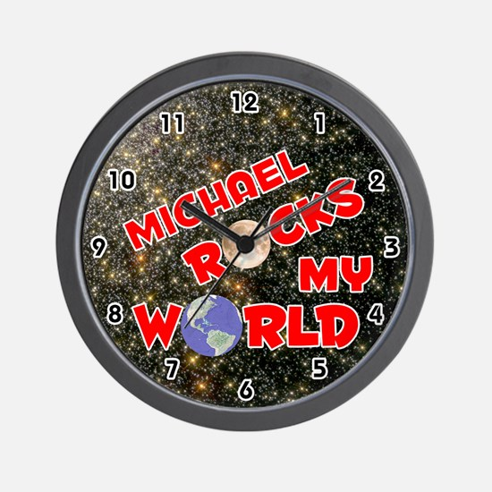 Michael Rocks My World (Red) Wall Clock