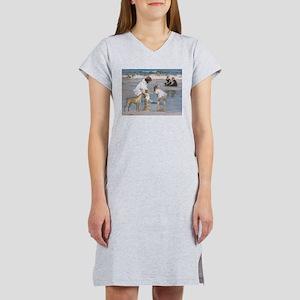 'Children and Boxer at Seashore' Ash Grey T-Shirt