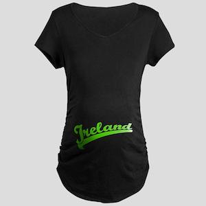 Green Baseball Font IRELAND Maternity Dark T-Shirt