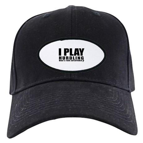 I Play Hurdling Sports Design Black Cap with Patch