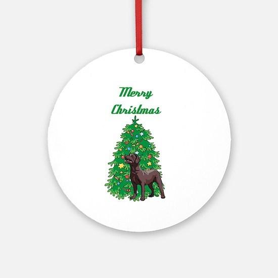 Merry Christmas Labrador Ornament (Round)