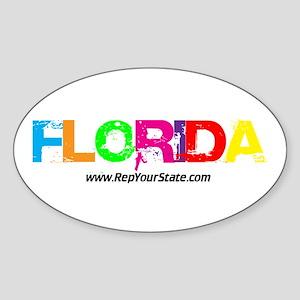 Colorful Florida Oval Sticker