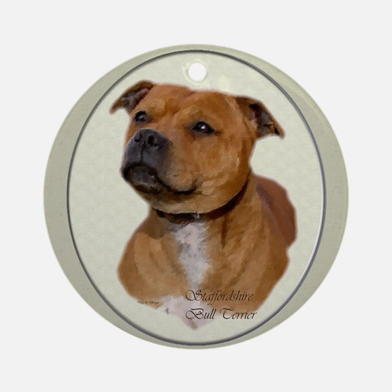 Staffordshire Bull Terrier Ornament (Round)