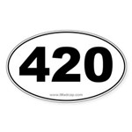420 Car Oval Sticker