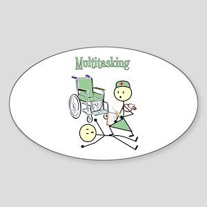 Nurse Multitasking Oval Sticker