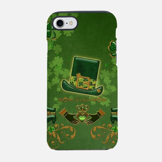 Happy st. patrick's day with clover hat and heart
