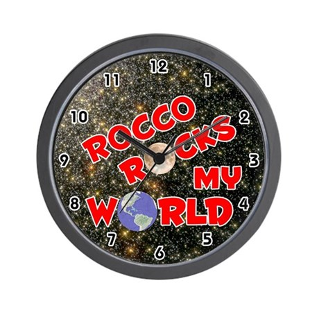 Rocco Rocks My World (Red) Wall Clock