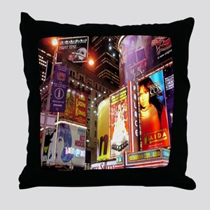 Broadway at Night Throw Pillow