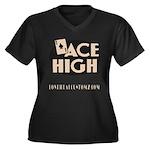 ACE HIGH Women's Plus Size V-Neck Dark T-Shirt