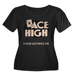 ACE HIGH Women's Plus Size Scoop Neck Dark T-Shirt