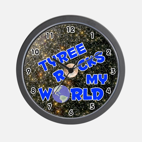 Tyree Rocks My World (Blue) Wall Clock