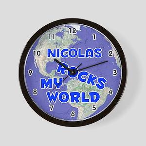 Nicolas Rocks My World (Blue) Wall Clock