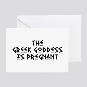 The Greek Goddess is Pregnant Greeting Cards (Pk o