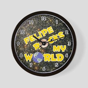Felipe Rocks My World (Gold) Wall Clock