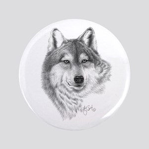 """Gray Wolf 3.5"""" Button"""