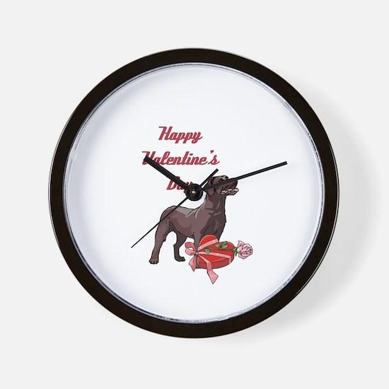 Happy Valentine's Day Labrador Wall Clock