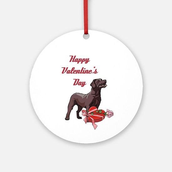Happy Valentine's Day Labrador Ornament (Round)