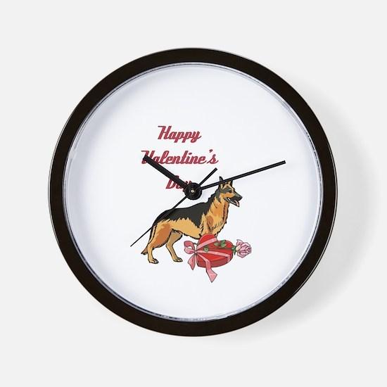 Happy Valentines Day German Shepard Wall Clock