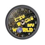 Izzy Rocks My World (Gold) Wall Clock