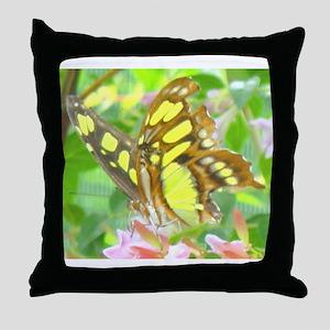 Malachite Butterfly Throw Pillow