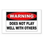 Does Not Play Well Rectangle Sticker