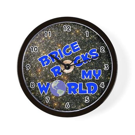Brice Rocks My World (Blue) Wall Clock