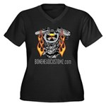 V TWIN Women's Plus Size V-Neck Dark T-Shirt