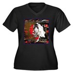 Cat Sagittarius Women's Plus Size V-Neck Dark T-Sh