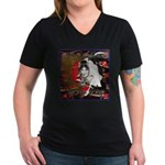 Cat Sagittarius Women's V-Neck Dark T-Shirt